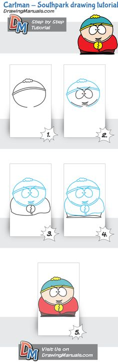 Cartman from South Park drawing tutorial, draw step by step http://drawingmanuals.com/manual/cartman-southpark-drawing-tutorial/