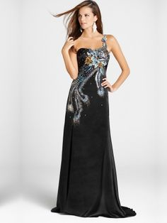 Facinating Peacock Sheath/Column One-shoulder Sweep Train Evening Dress