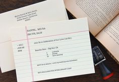 Letterpress Wedding Invitation - SAMPLE - Old-school library catalog card, index card, retro book nerd