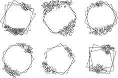 Geometric Floral Frames SVG, Set of 6 Floral Polygonal Frame, Commercial Use Hand Embroidery Patterns Flowers, Hand Embroidery Art, Hand Embroidery Videos, Flower Doodles, Doodle Flowers, Bullet Journal Banner, Doodle Frames, Floral Drawing, Japanese Typography