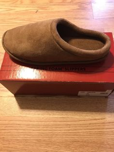 Slippers New With Tags Mens Faux Suede Brown Slip On Slippers Size 11-12 Numerous In Variety