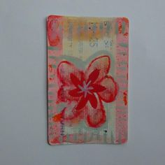 train ticket art with Red flower with starry centre
