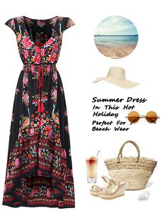 Gracila Ethnic Style Floral Printed Short Sleeve Deep V-neck Dress For Women