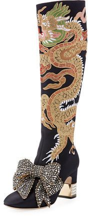 2290c5b8414 Gucci Candy Dragon Embroidered Block-Heel Knee Boot