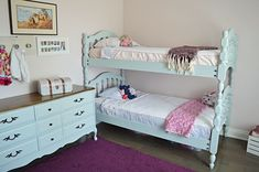Are you looking for bunk bed ideas for girls? I'm going to show you how I took a vintage wood spindle bunk bed and transformed it with paint. This soft blue pai… Bunk Beds Small Room, Girls Bunk Beds, Girls Bedroom, Small Rooms, Bed Rooms, Bedroom Ideas, Faux Brick Panels, Old Beds, Simple Bed