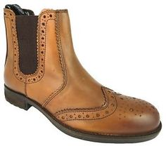 Catesby CX07T MEN'S TAN Brown Pull ON Wingtip Brogue Chelsea Dealer Boots NEW | eBay