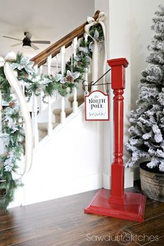 """Holiday Home Tour with build plans to make your own """"North Pole/StockingPost"""" 2016 With a lantern on top Christmas Wood, Christmas Projects, Winter Christmas, All Things Christmas, Holiday Crafts, Christmas Holidays, Christmas Decorations, Holiday Decor, Christmas Ideas"""