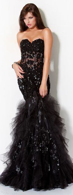 Jovani Ruffles & Lace Strapless Evening Gown