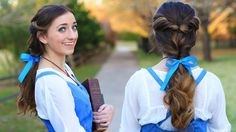EMMA WATSON Belle Ponytail Hair Tutorial   Beauty and the Beast Hairstyl...
