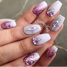 "Pretty pale grey called ""dough-a-deer"" from @glamandglitsnails love! #pinkglitter#love#cutenails#stephsnails#lodinails#notpolish#flawlous#diamonds#white#acrylicnails#glamandglits#stephset"