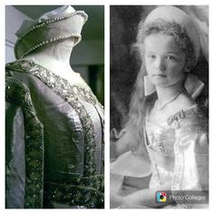 THE ROMANOVS SECRETS~ the court dress of OTMA known from the photos of 1904-09 was designed with Alix's assistance and performed in a false Russian style.  It included pink Kokoshnik hear dress embroidered with pearls and pink gown performed in Sarafan style embroidered with silver (left). There is no evidence whether girls of the Romanovs loved it or not but GD Olga (right) - the only daughter of Nikolay who managed to participate in grand court ball - was happy to forget about this dress…
