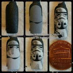 Star Wars / Star Trooper step by step hand painted nail art by Melgin Wright! Painted Nail Art, Hand Painted, Star Wars Nails, Disney Inspired Nails, Star Troopers, My Nails, Nail Polish, Fan Art, Stars