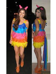 pinata costume: Get color streamers or colourful duct tape from a party or craft store, an old shirt and an old pair of pants/shorts/skirt/bottoms from a thrift store. Then cut the streamers and tape them to your clothes- you're good to go.