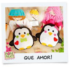 Download - Molde Casal Pinguim Naninha para imprimir          Menina:  Fadinha, é verdade que o amor aquece o coração?      Fadinha: ...