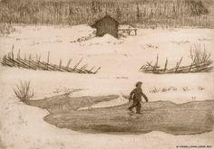 Hugo Simberg (1873-1917) Poika jäällä / Boy on ice - Finland