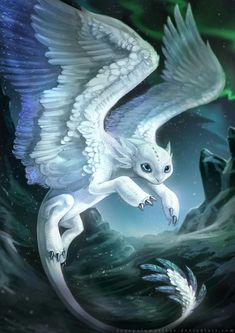 It's a feathery white Toothless<<<animal creature species design  drawing with wings that are white and blue like Toothless dragon #dragons