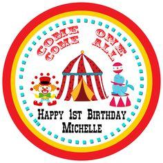 Circus Theme Birthday Gift Tags available at www.partyexpressinvitations.com Circus Birthday Invitations, Birthday Tags, Birthday Gifts, Mickey Mouse Balloons, Unicorn Balloon, Rose Gold Balloons, Happy 1st Birthdays, Circus Theme, Gift Tags
