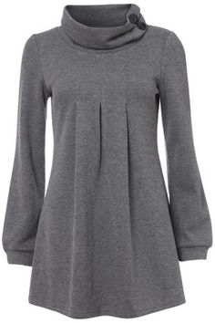 Grey Button Turtle Neck Tunic Dress on Womens Clothing