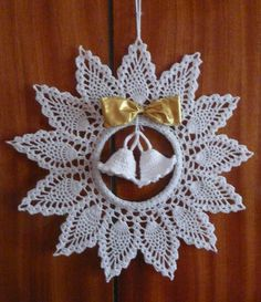 Best 10 A képen nem látszik de ez egy csillogós fonalból készült tűvel – SkillOfKing. Crochet Christmas Decorations, Christmas Crochet Patterns, Crochet Decoration, Christmas Wreaths, Crochet Tree, Crochet Gifts, Diy Crochet, Fabric Crafts, Sewing Crafts