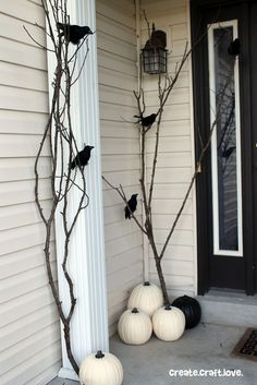 Paint some pumpkins white, some branches black, add plastic ravens and voila, a very cool Halloween porch!: Paint some pumpkins white, some branches black, add plastic ravens and voila, a very cool Halloween porch!