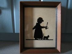 Antique 1930's Silhouette Art Little Girl Picture on Glass Original Frame | eBay