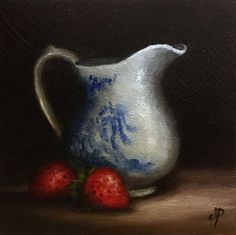 Cream Jug with Strawberries, Original Oil Painting still life by Jane Palmer by JanePalmerArt on Etsy