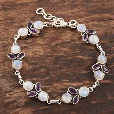 Rainbow Moonstone and Amethyst Sterling Silver Link Bracelet - Misty Morning | NOVICA Johnson And Johnson, Rainbow Moonstone, Link Bracelets, Fashion Accessories, Amethyst, Sterling Silver, Jewelry, Jewlery, Jewerly