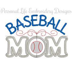 Baseball Mom Team Sports Machine Embroidery Design Digital Applique Pattern INSTANT DOWNLOAD Spring School Spirit Boy Ball Game Batter Glove by PersonalLife on Etsy