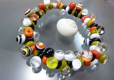 Melanie Moertel Lampwork Beads  Orange black by melaniemoertel, $155.00