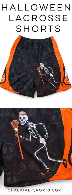 Limited Edition Lacrosse Halloween Shorts! Our Never Stop Laxing lacrosse shorts feature our laxer skeleton on the front, our skull and lax sticks pattern throughout and lacrosse sticks down the side. All shorts are double layered moisture-wicking design and side pockets.