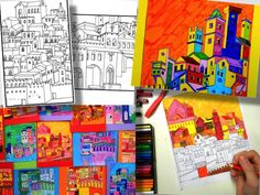 Buy Now 5 drawings of medieval cities, drawn by copying the frescoes by artists of14th century, as Ambrogio Lorenzetti and Giotto. Ready to be colored with crayons or markers, in an imaginative wa...