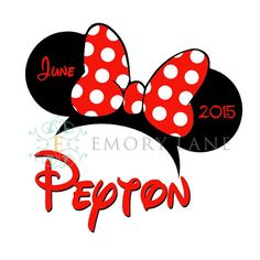 Minnie Mouse Ears Printable Customized Name by EmoryLaneStudios, $4.25
