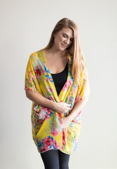 Chiffon Cake Kimono – yellow floral (ships in 1 to 2 weeks) $68.00  Our new pretty kimono prints will make you swoon! Feel so feminine and put together with this simple piece. We wear ours with jeans or leggings, a tank top and have the best spring/summer outfit in a snap! Are you going away or needing something for a summer wedding? This is the thing for you! It packs so small and will complete any outfit or act as a sweet swimsuit cover up. Summer 2016, Spring Summer, Chiffon Cake, Swimsuit Cover, We Wear, Summer Wedding, Summer Outfits, Kimono Top, How To Make