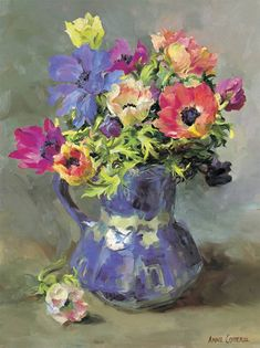 Anemones in a Blue and White Jug | Mill House Fine Art – Publishers of Anne Cotterill Flower Art
