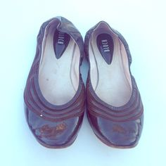 BLOCH BROWN VINYL FLATS Good condition-tiny heel-Size 10 but they fit me and I'm a size 8 Bloch Shoes Flats & Loafers