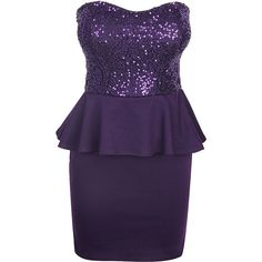 Purple Bandeau Sequin Peplum Dress ($26) ❤ liked on Polyvore