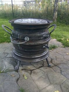 Len Wilcox December 4 · saw a similar stove made out of rims so my dad and I… Metal Projects, Welding Projects, Outdoor Projects, Outdoor Decor, Rim Fire Pit, Fire Pits, Used Horse Shoes, Fire Pit Designs, Rocket Stoves