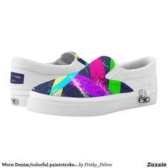 Worn Denim/colorful paintstrokes pattern Slip On Printed Shoes