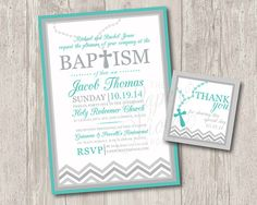 Printable : Baby boy baptism invitations with rosary & FREE matching thank you tag