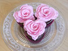 Ruffled rose heart cupcakes ~ your Valentine sweetheart would love these!
