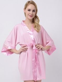 Soft Pink Jersey Stretchy Robes With Satin Trim Pink Robe Modal Bridesmaid Robes Cheap Bridesmaid Gifts Maternity Robe Bridal Robes Bridesmaid Robes Cheap, Bridal Robes, Satin, Fashion, Moda, La Mode, Fasion, Fashion Models, Trendy Fashion
