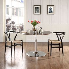 Modway Amish Dining Armchair Set of 2 in Black