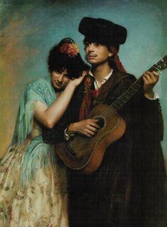 El guitarrista. 1880 - Antonia de Bañuelos y Thorndike (Condesa de Bañuelos y Marquesa de Alcedo)  (Española, nacida en Roma, 17 julio de 1855  - 1926)