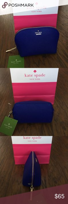"🎉HP🎉KATE SPADE Abalene Small Cosmetic Case Guaranteed Authentic! Kate Spade Abalene small cosmetic case. Color: Nightlife Blue and gold. Pretty meets practical in this compact kate spade new york cosmetic case, crafted of saffiano leather for a luxe look. Shell: Cow hide leather; coating: polyurethane; lining: polyester. Zip closure. Interior slip pocket. Measurements: 8""W x 3""D x 4.5""H. Item will be videotaped prior to shipping to ensure proof of condition. kate spade Bags Cosmetic Bags…"