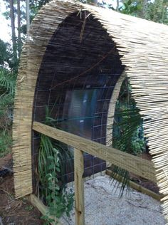 Cattle panel aviary.  don't need an aviary, but the bamboo shade is a brilliant idea for our rabbit and chicken shelters in summer.