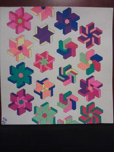 """Geometric pinwheels"", from Geometric Designs coloring book & CD, Dover. Sakura Moonlight gel pens, 9/2012, ADH."