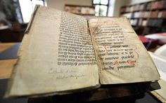The Gutenberg Bible  Printed by Johann Gutenberg in Mainz, c.1455, this is the first book printed from movable types in the western world.  Forty-eight copies survive; only 31are perfect. A single leaf sells for £50,000; a complete version would be worth tens of millions of pounds.