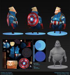 ArtStation - Handpainted Captain America, Don England