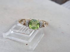 Peridot and Sapphire Ring 10k yellow gold  by LuceesTreasureChest