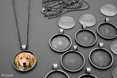 20 pieces of antique silver circle tray photo pendants with domed glass inserts. 25mm photo area. Includes 20 antique silver 24 inch link chain necklaces. #diy #crafts